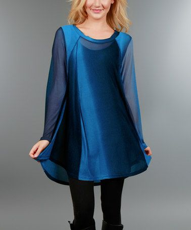 Another great find on #zulily! Blue Sheer Stripe Scoop Neck Tunic - Plus #zulilyfinds