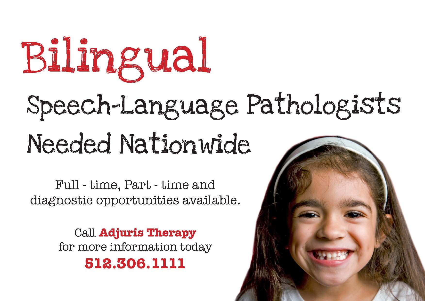 This is the front of a postcard sent to bilingual speech-language pathologist who were interested working within an educational setting.