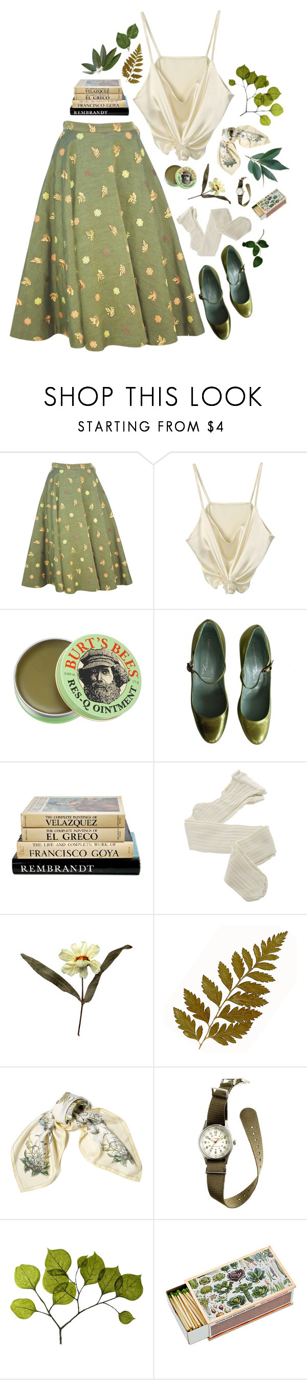 """""""BONNIE LASS"""" by thinvein ❤ liked on Polyvore featuring Burt's Bees, Sigerson Morrison, Fogal, Grace, Hermès, J.Crew, Dot & Bo, vintage, classic and casualoutfit"""