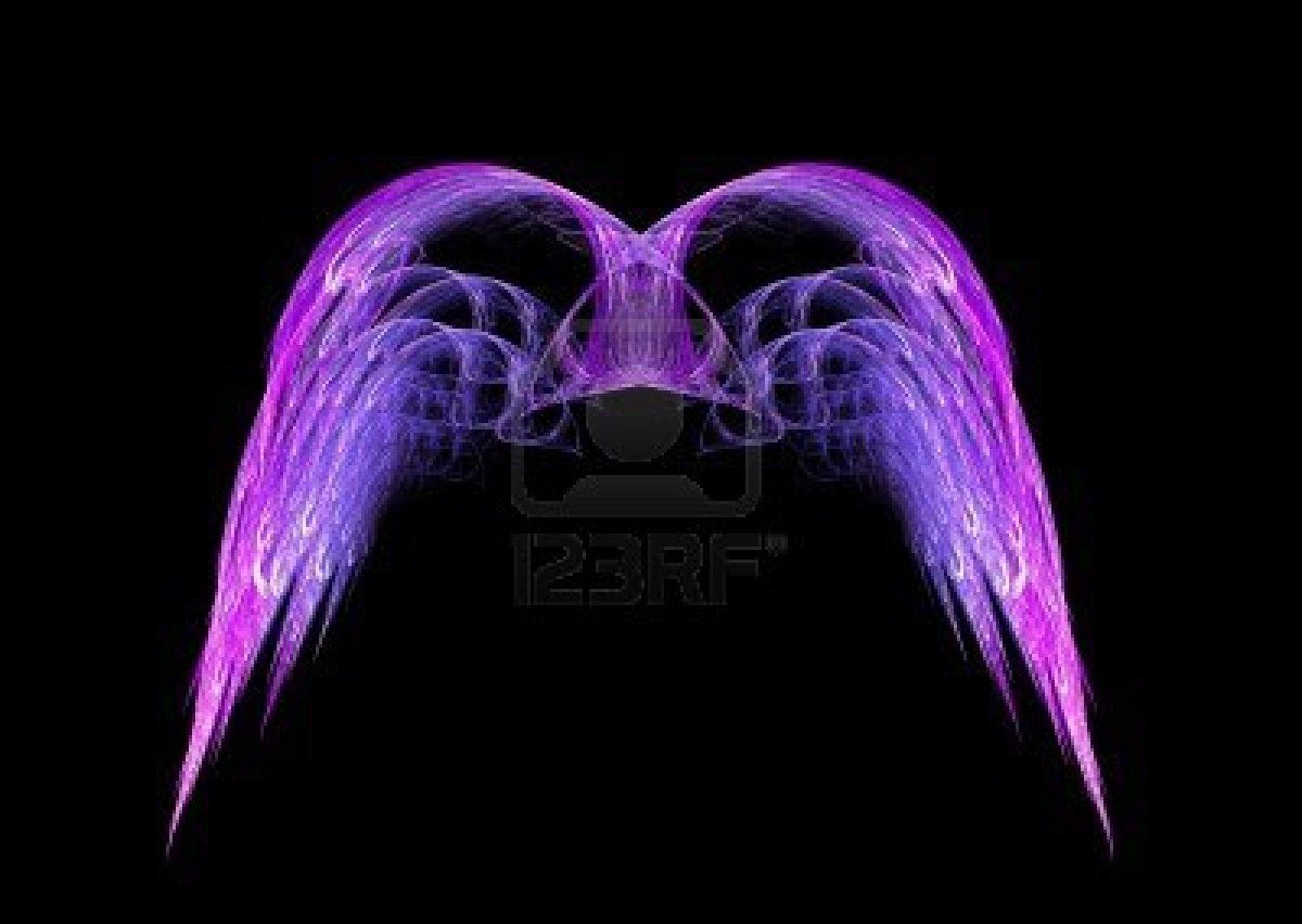 Stock Photo   White angel wings, Black backgrounds, Fractals