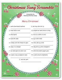 image about Christmas Song Scramble Free Printable called Pin upon Xmas Things to do