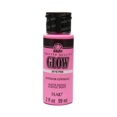 Folkart 2871e Glow In The Dark Acrylic Craft Paint Matte Finish Pink 2 Fl Oz Walmart Com Acrylic Craft Paint Acrylic Colors Folk Art
