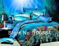 NEW Design 3D oil painting bedding sets cover ,3d oil ocean bed sheets,blue ocean and dolphin bed linen,EMS free shipping on AliExpress.com. 10% off $88.20