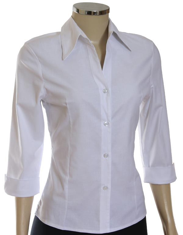 Camisa Social Feminina Lisa Manga 3/4 :: Netroupas Moda Executiva ·  LisaWoman ShirtDress ShirtsWhite ...