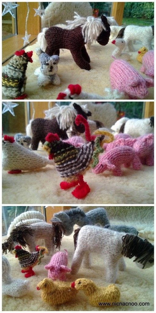 knitted farm animals - free knitting pattern available if you ask ...