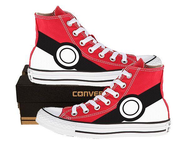 Painted Converse Hi Sneakers. Pokemon. Pikachu. Anime