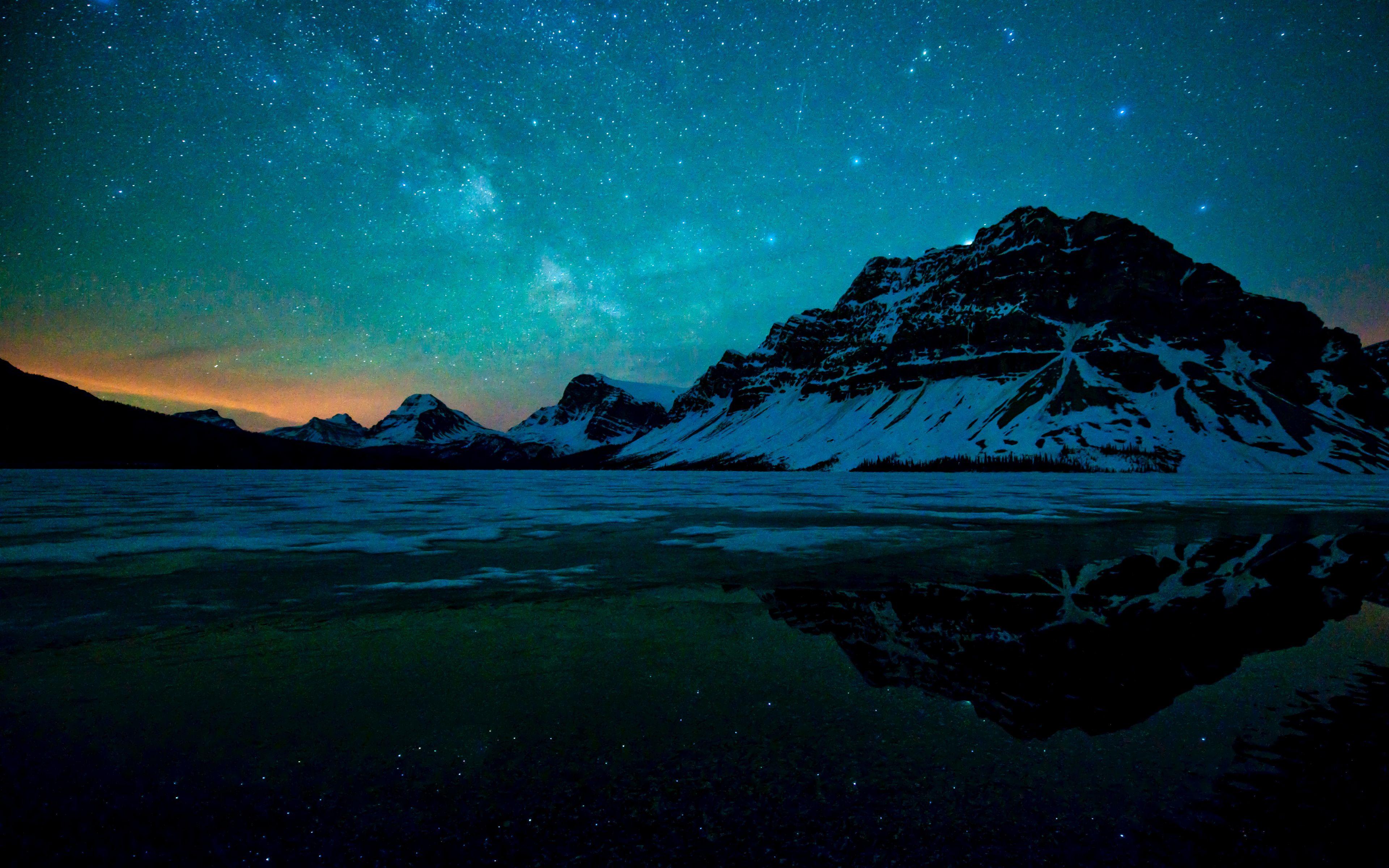 3840x2400 Milky Way Starry Sky Night Bow Lake Reflections Nature Wallpaper Night Sky Wallpaper Nature Wallpaper Mountain Wallpaper