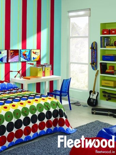 bedroom with stripes painted with fleetwood s buzz blue football rh pinterest com