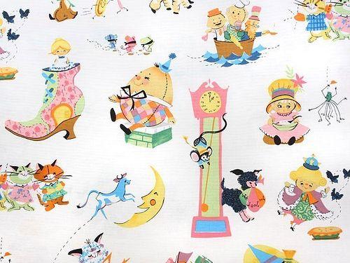 Vintage Style Nursery Rhyme Fabric