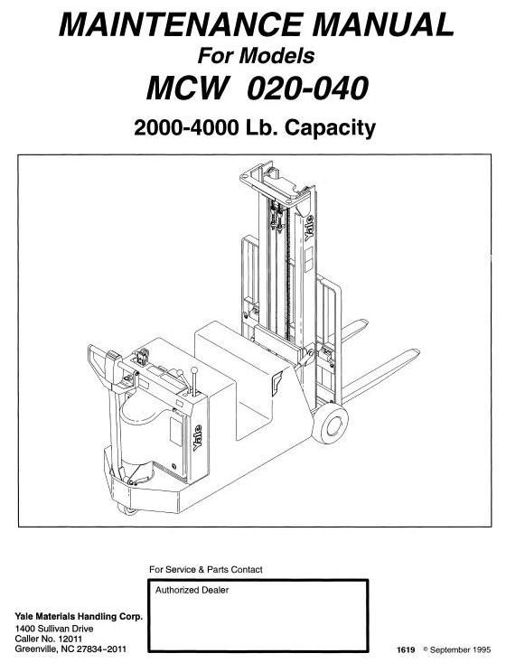 yale pallet truck mcw020 mcw040 workshop service manual rh pinterest com Manual Pallet Jacks Yale Electric Jack