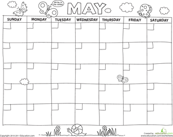 Worksheets: Create a Calendar: May