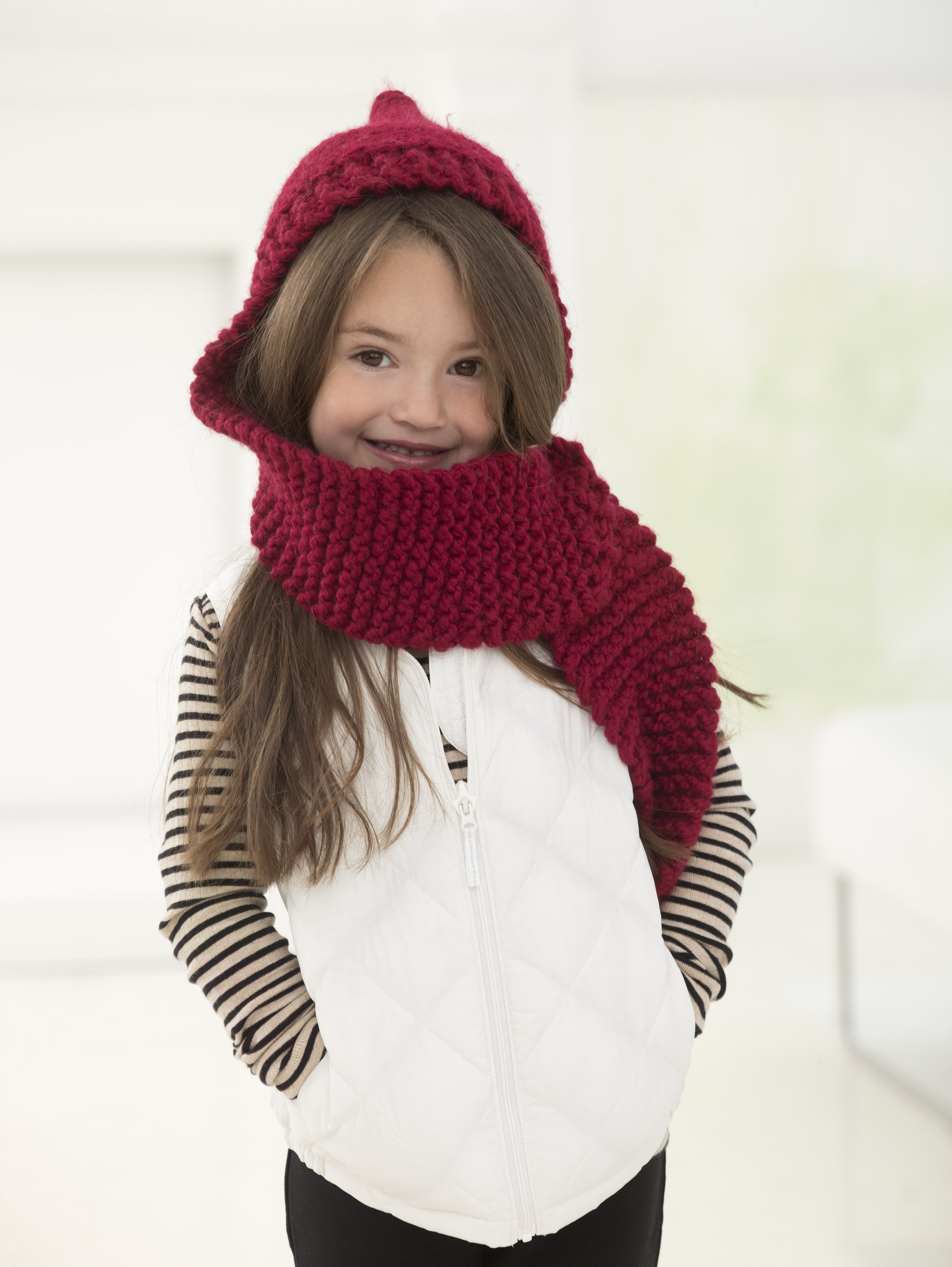Simple Hooded Scarf (Knit) - Lion Brand Yarn | Kŋɪʈʈɪŋɡ/CɽocɧҼʈ ...