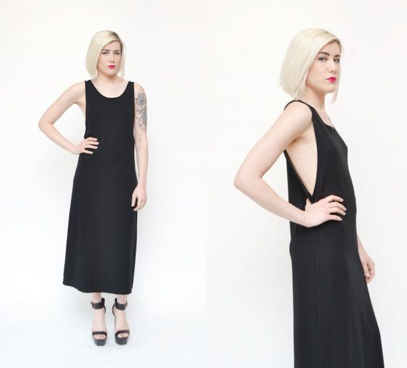 90s LOW CUT sides tank top maxi dress // minimal sexy black Chico's American Apparel style basic jersey knit cotton pocket sac dress