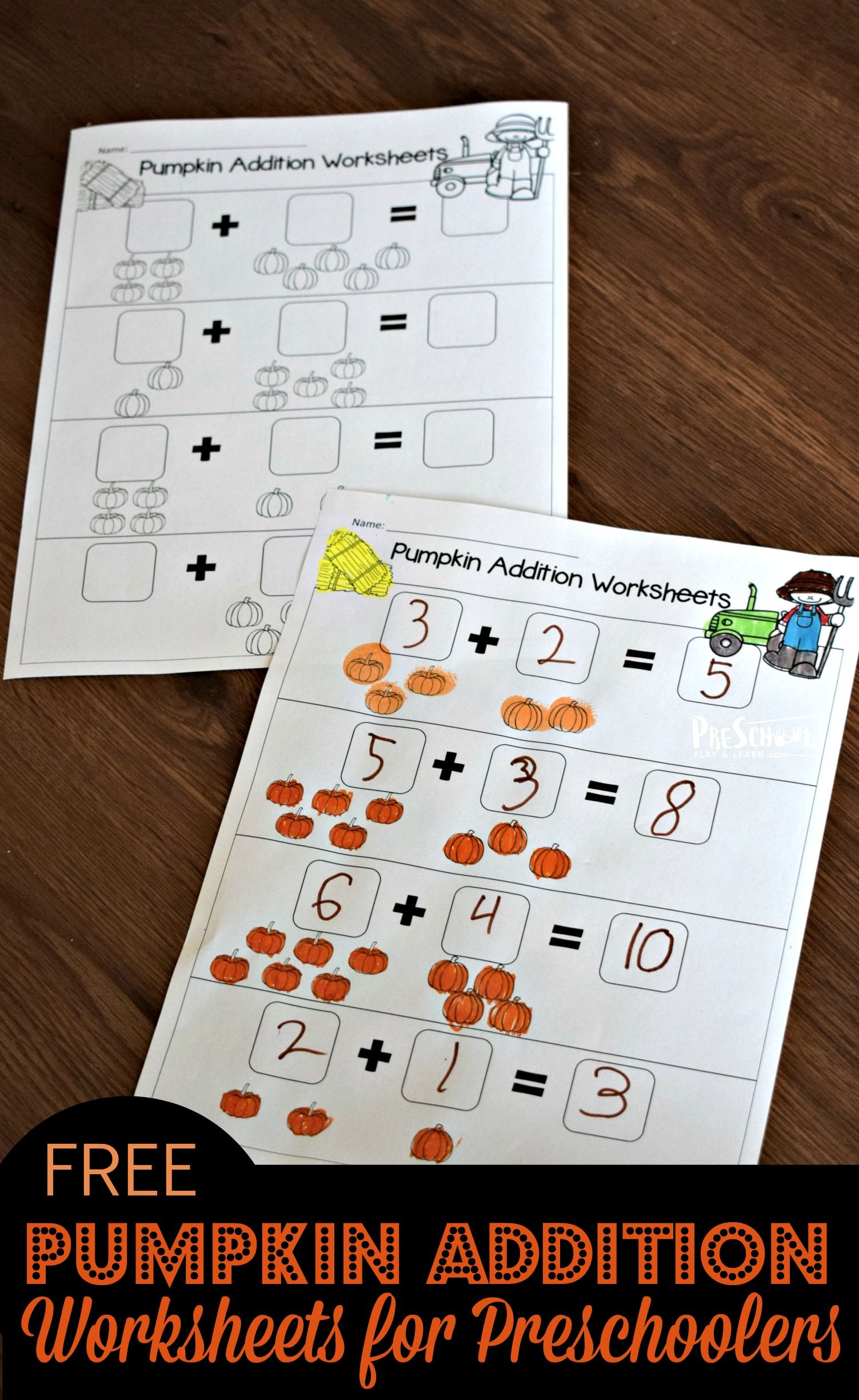 Free Pumpkin Addition Worksheets For Preschoolers