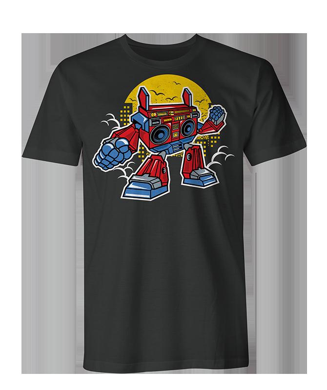 boombox robot Mens & Womens T Shirt - Black / xl / Womens