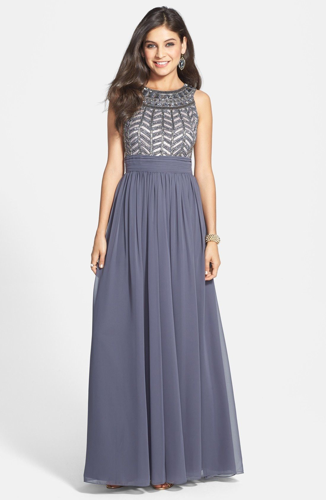 Js collections embellished chiffon gown available at nordstrom