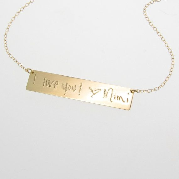 Gold nameplate necklace your handwriting custom handwritten 14k gold nameplate necklace your handwriting custom by theresa mink of classicdesigns on etsy aloadofball Image collections