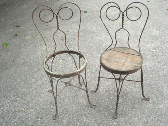Antique Ice Cream Parlor Chairs Twisted Iron Pair ~ these are perfect for  the garden - Antique Ice Cream Parlor Chairs Twisted Iron Pair ~ These Are