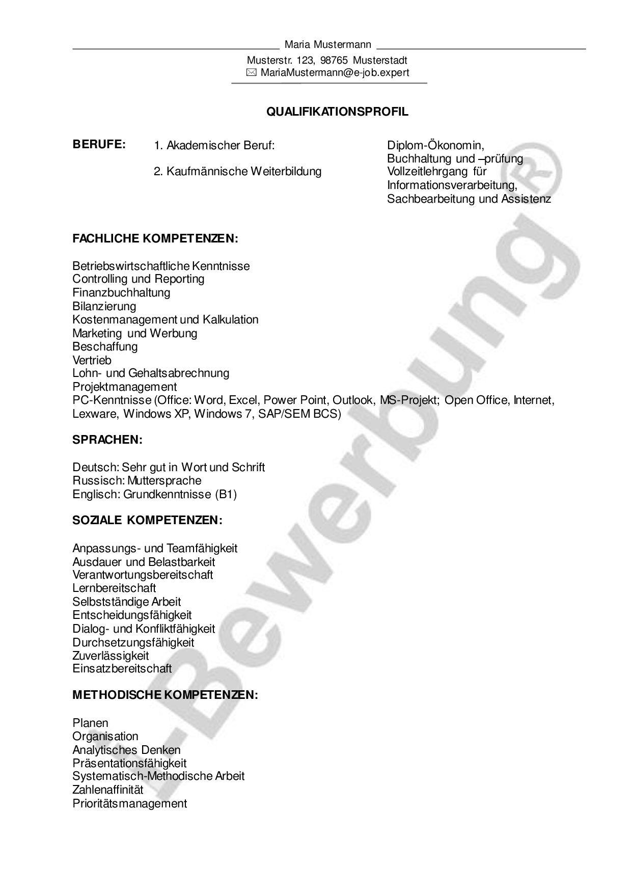 Vorlage für das Kurzprofil (Qualifikationsprofil) zur i ...