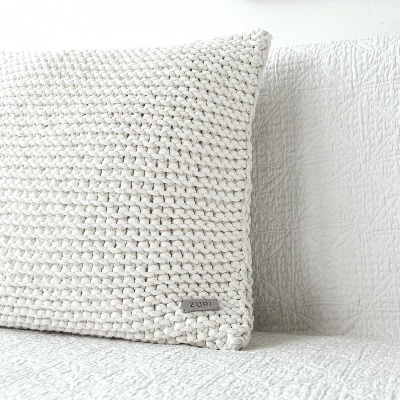 Christmas Hand knittedGrany/'s square.Rustic Scandinavian home decor.Vintage style Real Wool pillowcase Pompom pillowcase.Farmhouse decor