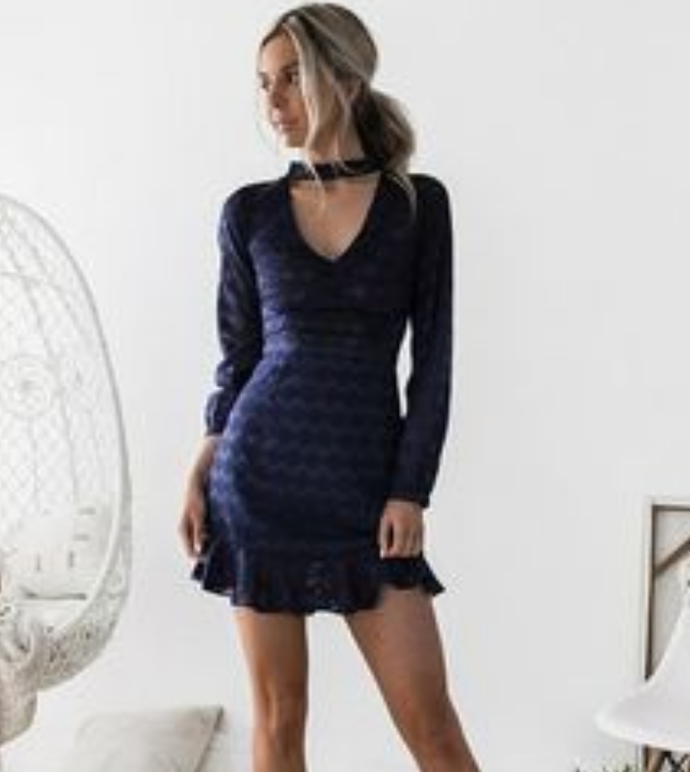 Sheath V-Neck Long Sleeves Short Navy Blue Lace Homecoming Cocktail Dress