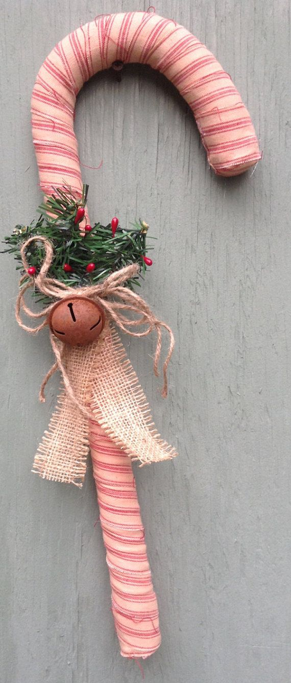 Primitive fabric wrapped candy canes 18 inches