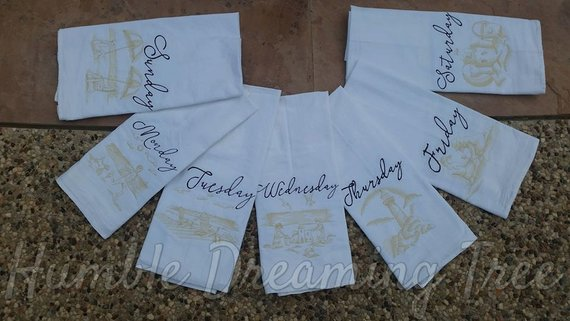 BEACH DAYS OF THE WEEK MACHINE EMBROIDERED FLOUR SACK DISH TOWELS