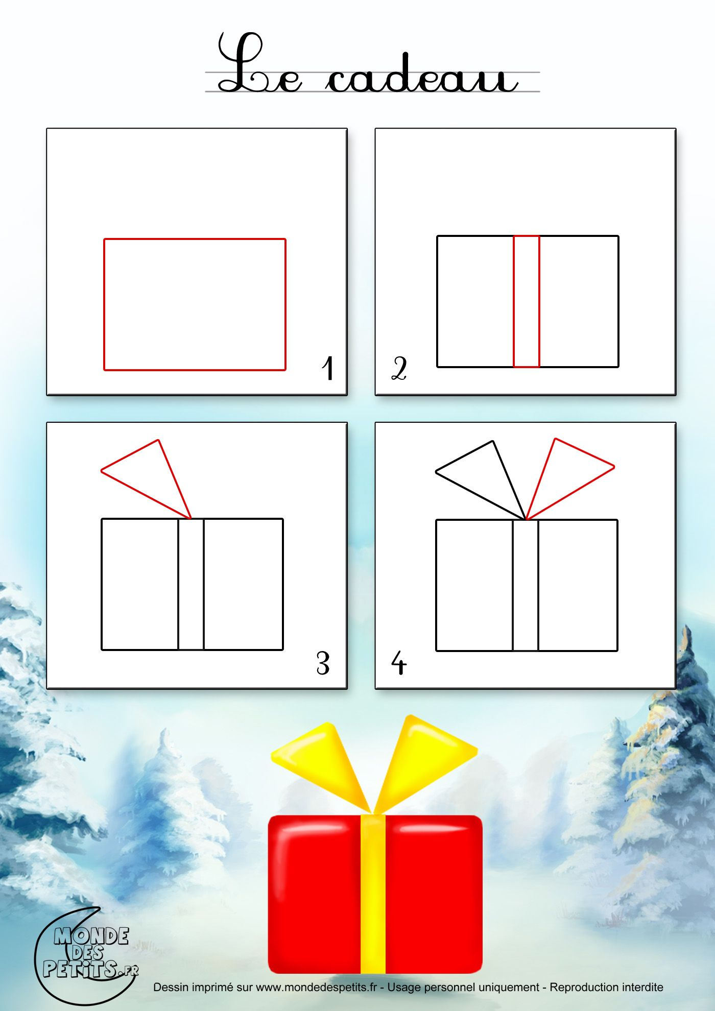 Dessin2 Comment Dessiner Un Cadeau De Noël Comment
