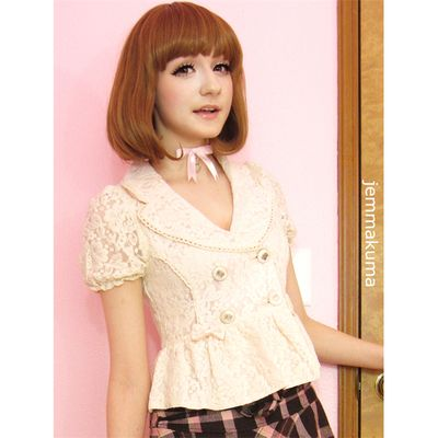 Beige pale pink all lace bowknots fashion small suits coat lace blazer free ship sp140843