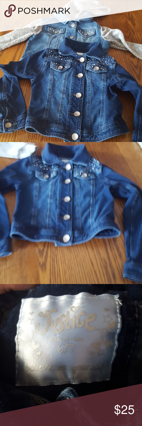 d8b76830 justice jean jackets-2 smoke free home. one is denim with sparkles,  the.other denim with fleece sleeves and hood. both from justice. size 6/7  Justice ...