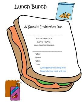 Small Group Lunch Invitation | School Counselor Material ...