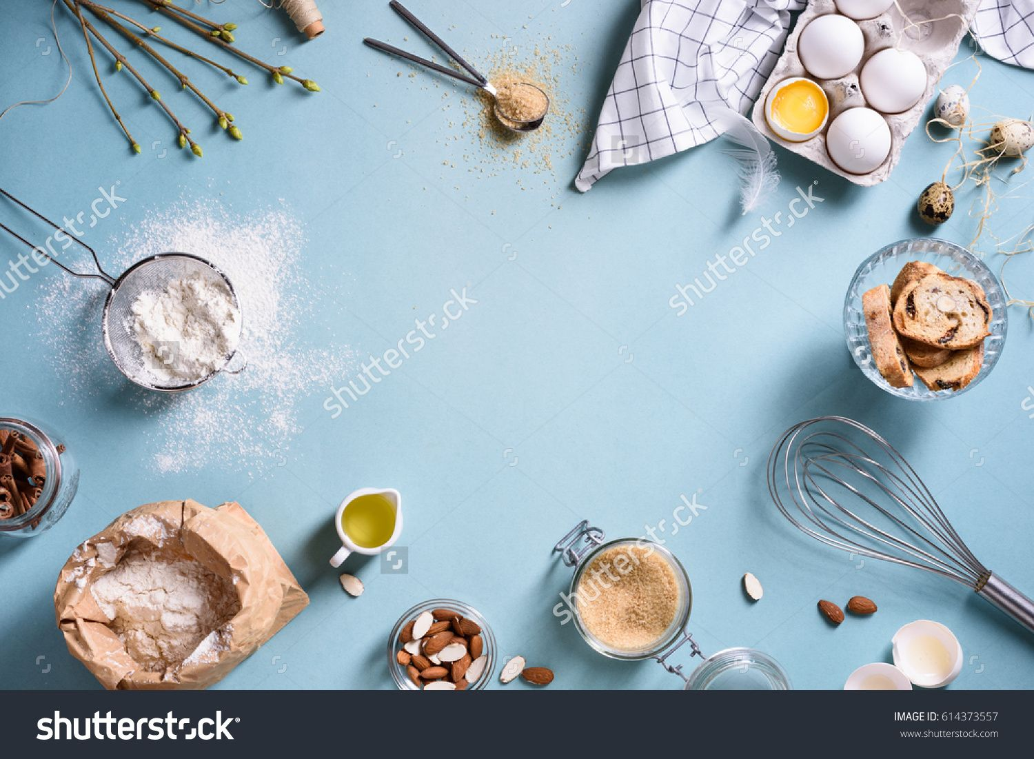 Baking or cooking background frame. Ingredients, kitchen items for ...