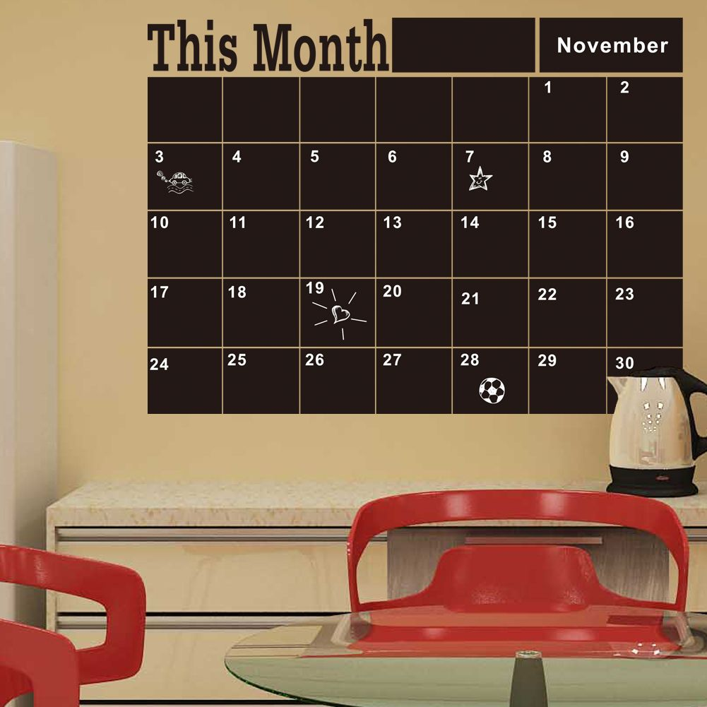 fd34c1088c0 Barato Quadro mensal Blackboard removível vinil adesivos de parede decoração  plano mês calendário quadro DIY