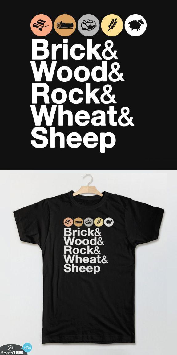 b169e65b Helvetica Settlers of Catan Shirt: Brick, Wood, Rock, Wheat, Sheep | Board  Game Geek T-shirt for Men, Women, and Kids.