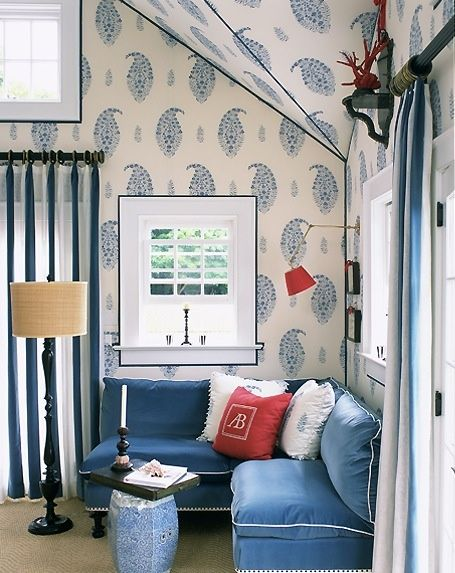 blue white paisley wall Chinoiserie Chic: Alessandra Branca & Red Lampshades