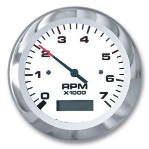 Teleflex Lido Series 3 Tachometer Hourmeter 7000 Rpm 65129p Tachometer Curved Glass Outboard