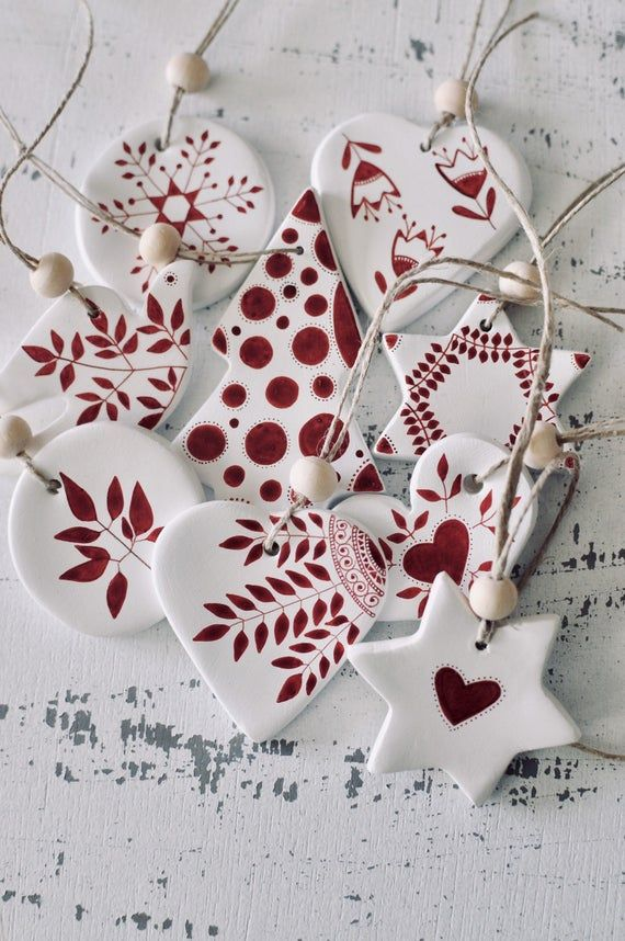 Photo of Set of 9 Christmas tree decorations Ornaments Scandinavian Christmas Ceramic ornaments Holiday decor Nordic decor Hygge Holiday decorations