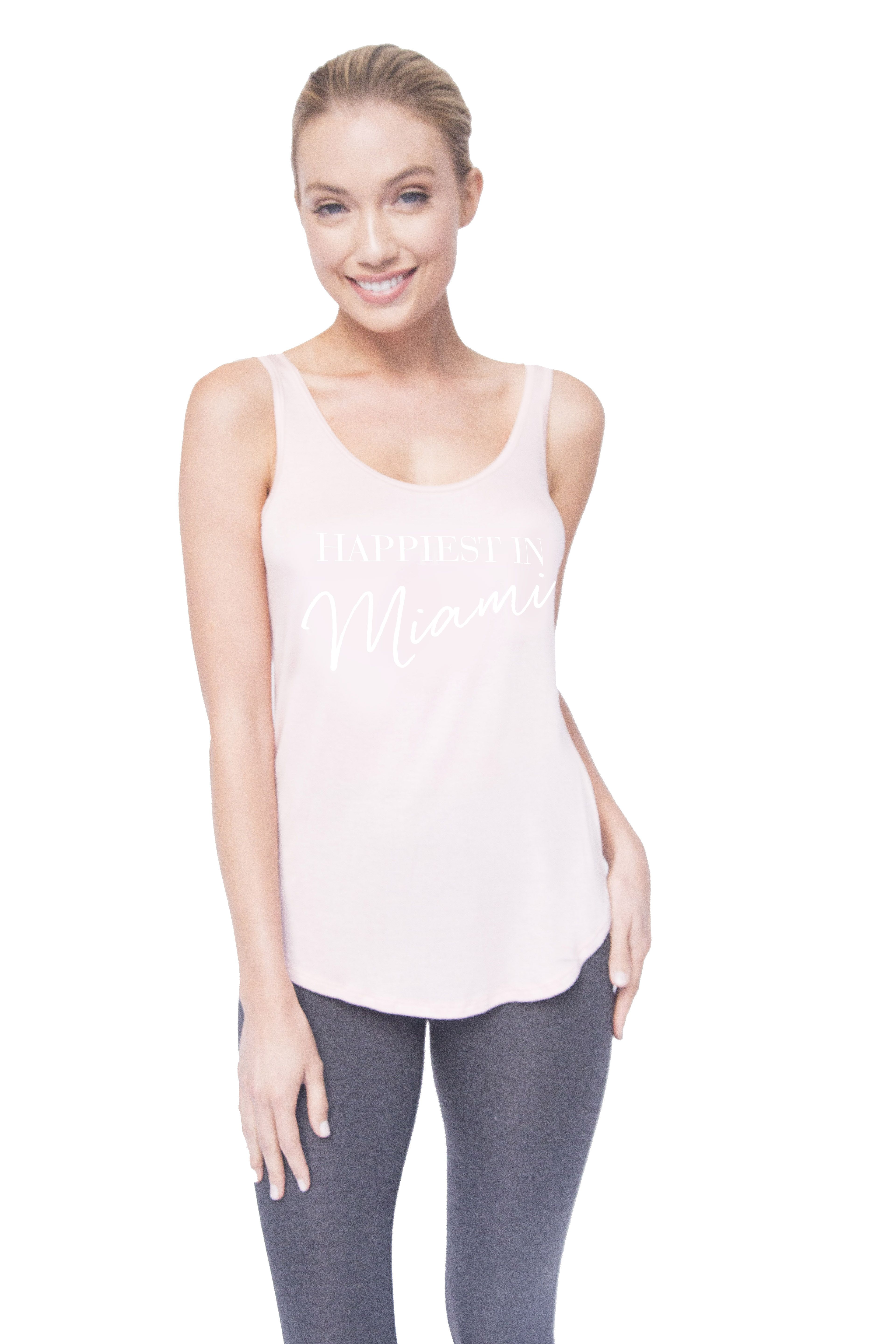 Happiest in Miami Renvi Tank in Blush with White Script ...