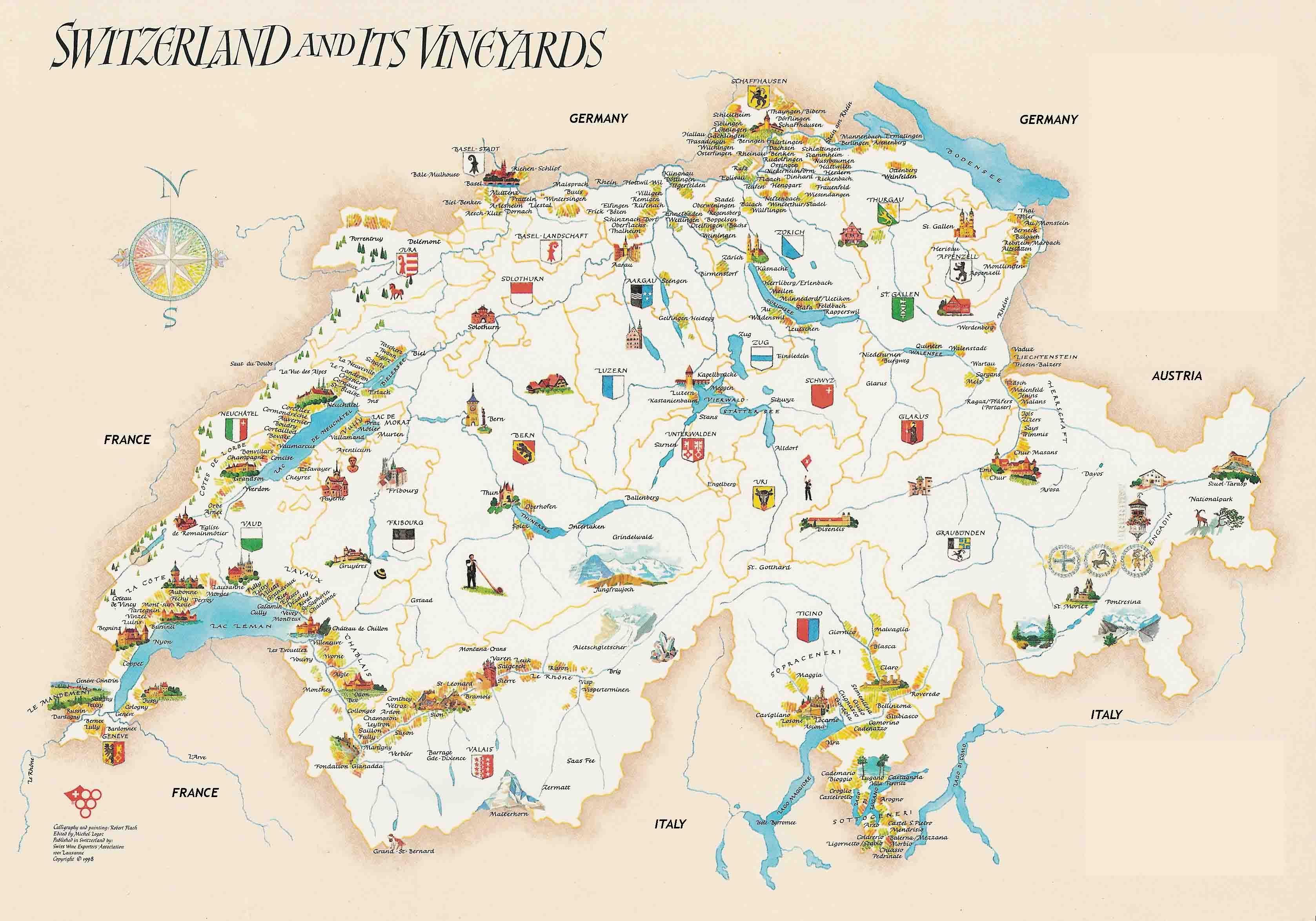 Switzerland Map Switzerland Vineyards Map See Map Details From