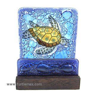 Fused Glass Sea Turtle Business Card Holder