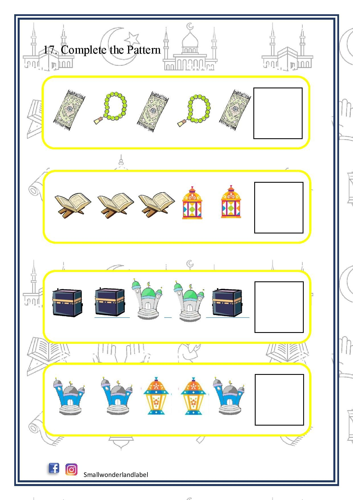 Complete The Pattern Ramadan Activity Pack In 2021 Ramadan Activities Ramadan Kids Islamic Kids Activities [ 1754 x 1240 Pixel ]