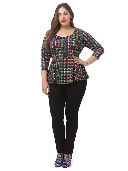 Houndstooth Printed Peplum Top by Jete Available in sizes L-XL and 1X-5X