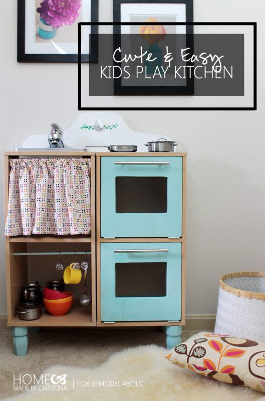 cute and easy diy kids play kitchen made from those cheap cube rh pinterest com