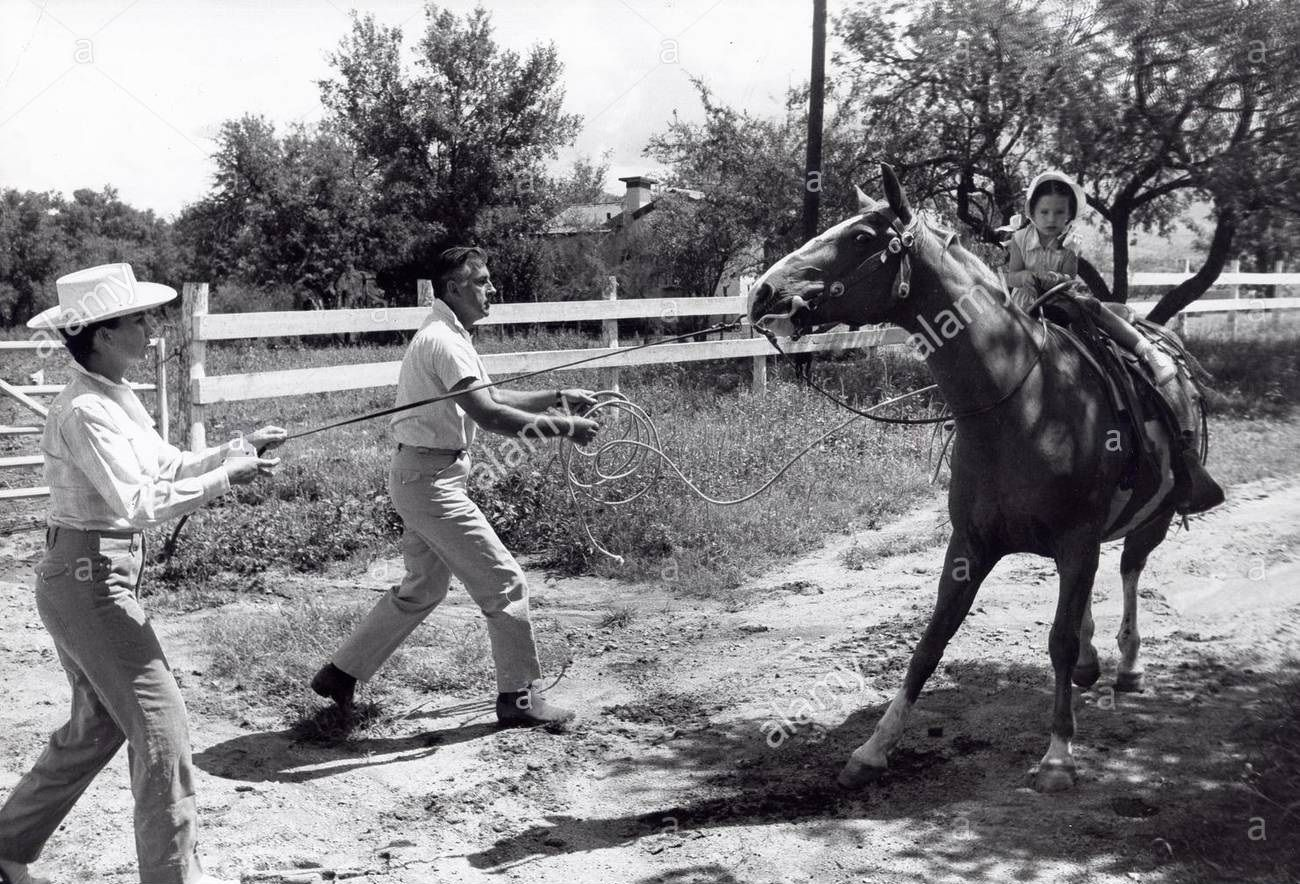 0 STEWART GRANGER & Jean Simmons & daughter Tracy Granger learning to ride a horse at Yerba Buena Ranch