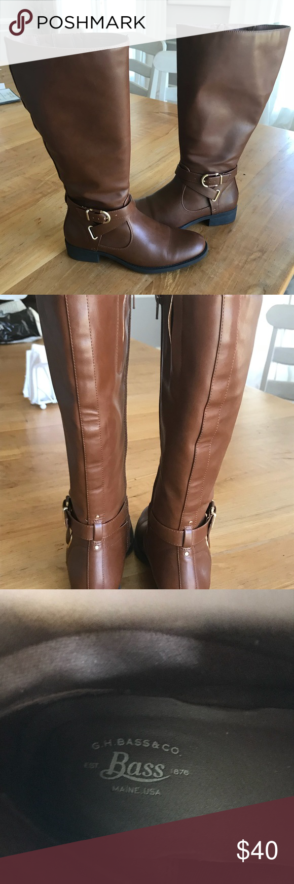 a4c5290f2ef2 G.H. Bass wide-calf riding boots Size 8 Very comfortable. Needed them  during my pregnancy. Excellent condition. Have a nice bit of give in the  calf.