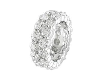Platinum 2 Row Shared Prong Eternity Band containing 32 Round Brilliant Cut Diamonds totaling 9.76cts
