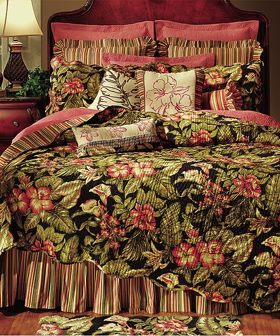 Black & Red Floral Quilt Set Tropical bedding, Tropical