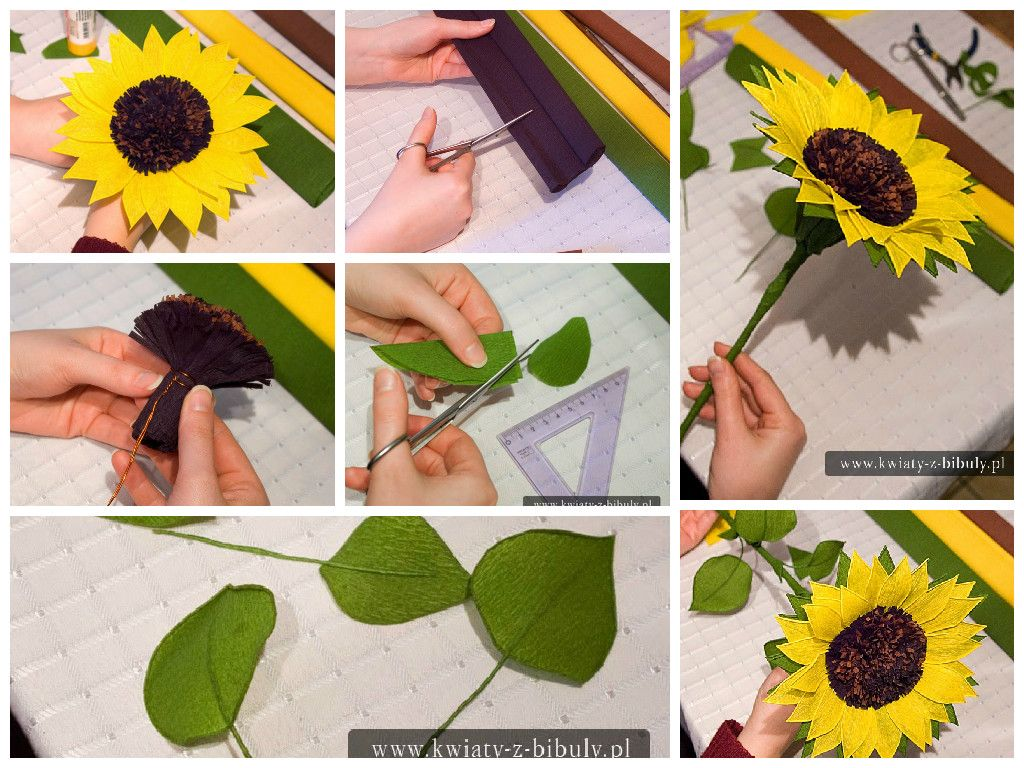 Sunflower Bouquet Of Flowers From Crepe Paper Easy Craft Ideas