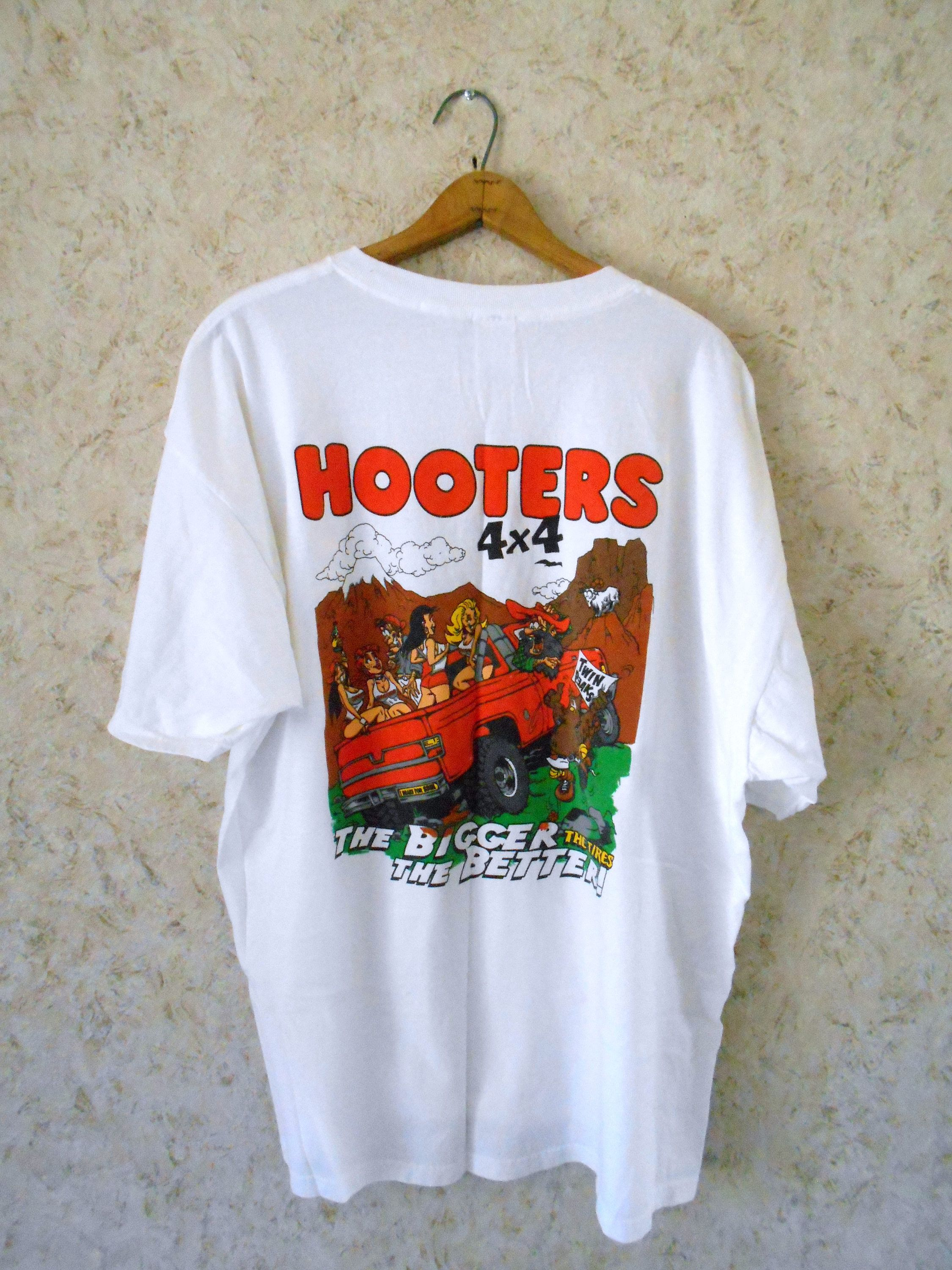 7a87b401e Vintage Hooters 4X4 Novelty Tee T Shirt Twin Peaks Cartoon Humor Restaurant  White Crewneck Short Sleeves Retro Hip Hop Mens Size 2XL by CoolDogVintage  on ...