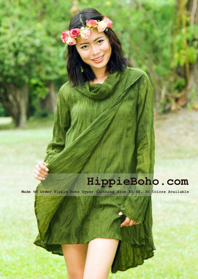 14f2846cd50 No.327 - Size XS-5X Hippie Boho Bohemian Gypsy Olive Green Long Sleeve  Tunic Plus Size Dress Lightweight Cotton